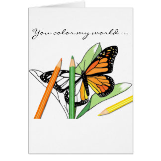 Butterfly Coloring Valentine Greeting Card