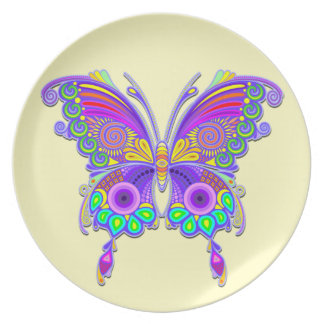 Butterfly Colourful Tattoo Style Plate