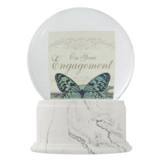 Butterfly Congratulations on Engagement Snow Globe