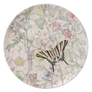 Butterfly Crab Apple Wildflower Flowers Plate