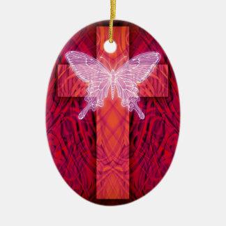 Butterfly cross ceramic ornament
