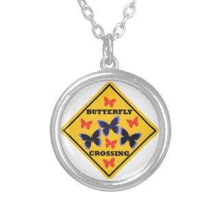 Butterfly Crossing Street Sign Custom Necklace