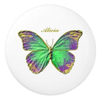 Butterfly Custom Name Emerald Purple Ceramic Knob