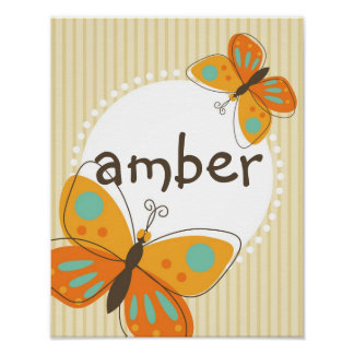 Butterfly Custom Name Kid Poster