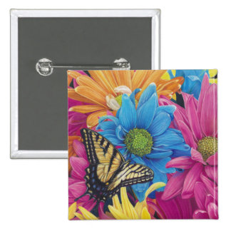 Butterfly Daisies Colored Pencil Art Print 2 Inch Square Button