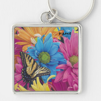 Butterfly Daisies Colored Pencil Art Print Silver-Colored Square Key Ring