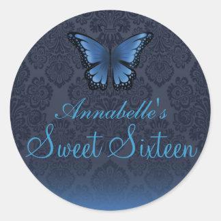 Butterfly & Damask Blue Sweet16 Sticker