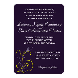 Butterfly | Dark Royal Purple & Sunny Lemon Yellow Card