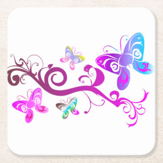 Butterfly design coaster set square paper coaster