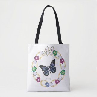 """Butterfly Design Featuring Monogram """"M"""" By BenJoy Tote Bag"""