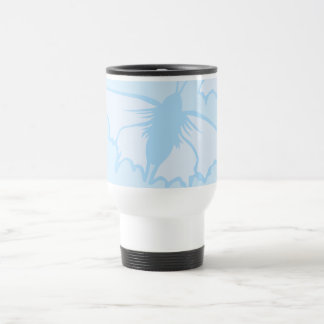 Butterfly Design in Pastel Blue. Travel Mug