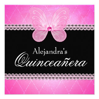 Butterfly Diamonds Pink Quinceanera Invites