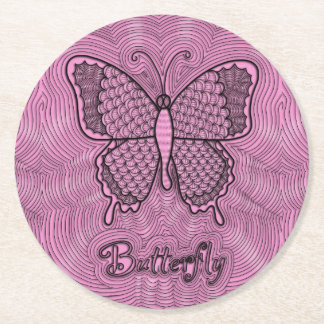 Butterfly Doodle Coaster Round Paper Coaster