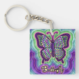 Butterfly Doodle Coaster Single-Sided Square Acrylic Key Ring
