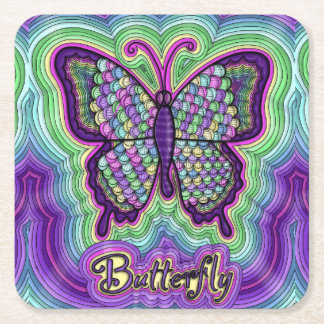 Butterfly Doodle Coaster Square Paper Coaster