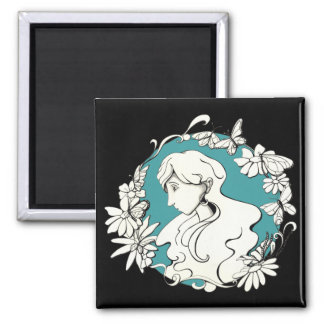 butterfly doodle copy square magnet