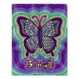 Butterfly Doodle Poster