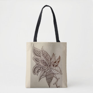 butterfly doodle tote bag