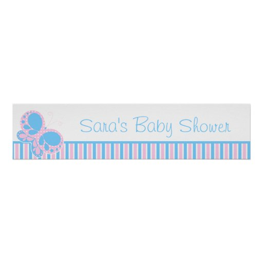 Butterfly Dots Baby Shower Banner Poster