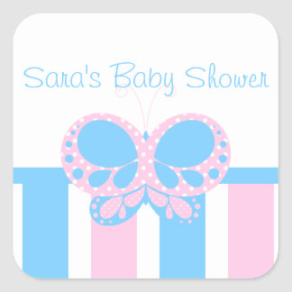 Butterfly Dots Personalized Envelope Seal Square Sticker
