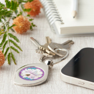 Butterfly Dream Scene Jeweled NAME Silver-Colored Swirl Key Ring