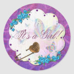 Butterfly Dream Scene Jewelled ITS A GIRL Round Sticker