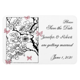 Butterfly Dreams: Dusty Rose Wedding Save the Date Rectangular Photo Magnet