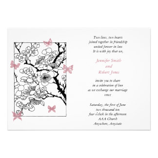 Butterfly Dreams Japanese Inspired Art Dusty Rose Invitations