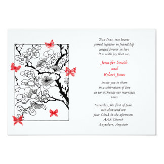 "Butterfly Dreams: Japanese Inspired Art Red 5"" X 7"" Invitation Card"