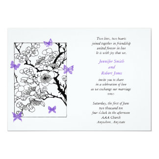 Butterfly Dreams: Japanese Inspired in Violet 13 Cm X 18 Cm Invitation Card