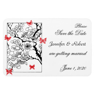 Butterfly Dreams: Red Wedding Save the Date Rectangular Photo Magnet