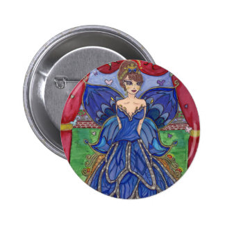 butterfly dress 6 cm round badge