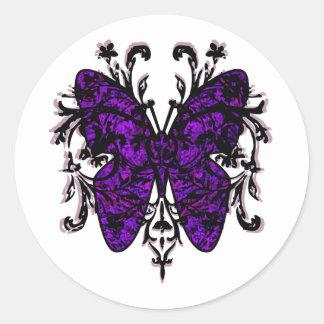 Butterfly Effect (purple) Round Sticker