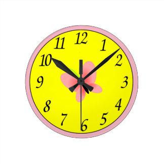 Butterfly emoji round clock