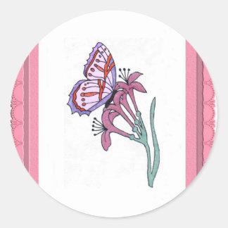 Butterfly Envelope Seals Round Sticker