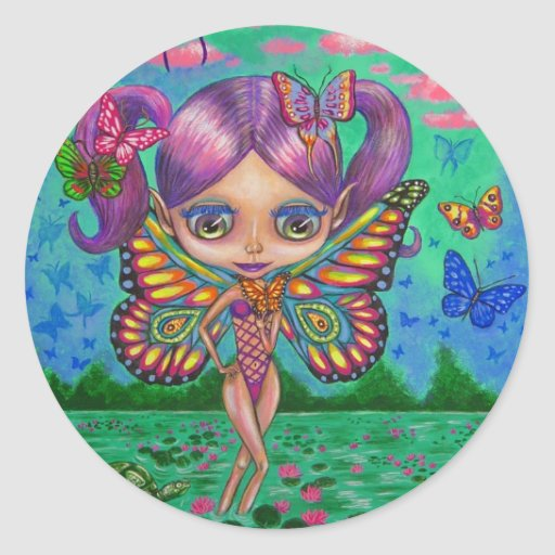 Butterfly Fairy of the Water Lilies Sticker