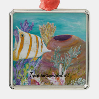 Butterfly fish painting on Silver-Colored square decoration