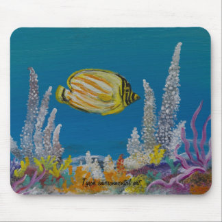 Butterfly fish painting on mouse pad