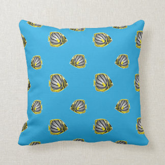 Butterfly-fish pattern throw cushion