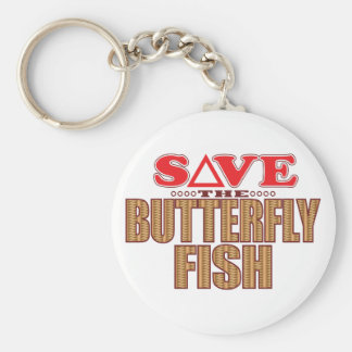 Butterfly Fish Save Basic Round Button Key Ring
