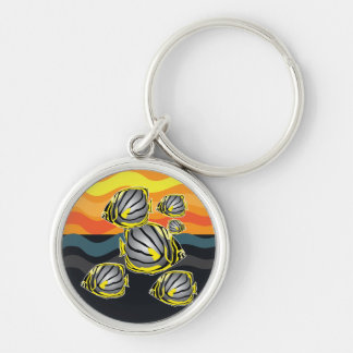 Butterfly fish Silver-Colored round key ring