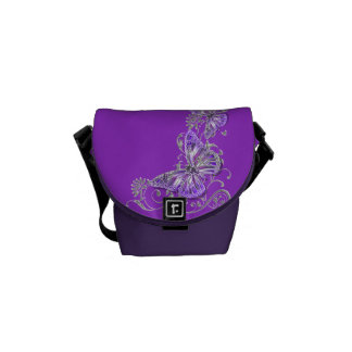 Butterfly floral pattern messenger bags