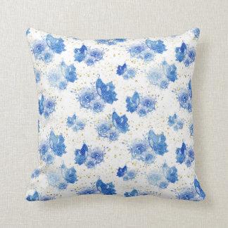 Butterfly Floral Pillow, Blue Throw Pillow