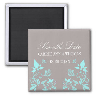 Butterfly Floral Save the Date Magnet, Aqua Square Magnet