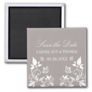 Butterfly Floral Save the Date Magnet, Ivory Square Magnet