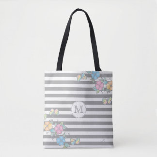 Butterfly Floral Striped Monogram Grey Tote Bag