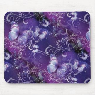 Butterfly, floral swirls on purple Mousepad