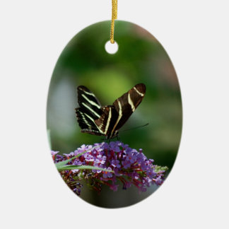 Butterfly & flower ornament/wall hanging ceramic oval decoration