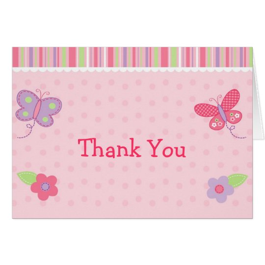 Butterfly Flower Stripes Thank You Note Cards