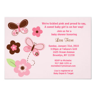 Butterfly Flowers Custom Baby Shower Invitations